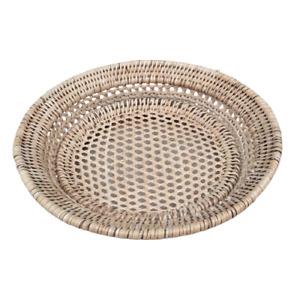"""Rattan Storage Tray Basket Round Shape Wicker Tray Fruit Tray 10"""""""