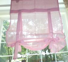 NIP NWT POTTERY BARN KIDS Pink & Sage Linen RIBBON TIE Curtain Drape Panel Shade