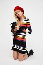 Free People Black Combo Gidget Sweater Mini Dress NWT ($148) XS S M L