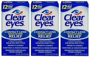 Clear Eyes Contact Lens Relief Soothing Eye Drops 0.50 oz Each bottle Lot of 3