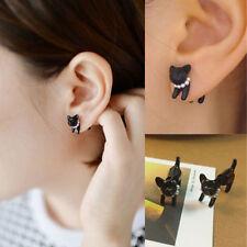 Womens Mens Black Stereoscopic Ear Stud Piercing Earring CatGift Pearl New tr88
