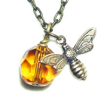 BEE NECKLACE with HONEY AMBER GLASS CRYSTAL Pendant Nature SAVE THE BEES