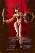 Elvish warrior sword WOW sheer elf elven art 11x17 signed print Dan DeMille