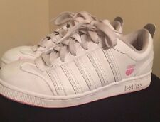 K-SWISS Pink White Leather Athletic Sneakers Womens Shoes Size 6