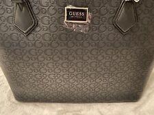 GUESS G Logo Embossed Satchel Crossbody Purse Hand Bag Black Key Hangtag