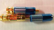Oberklasse GOLD 2xCINCH STECKER SET EDEL blau <8mm 24-KARAT Referenzklasse