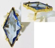 bague bijou vintage pierre de verre taillé bleu topaze panier couleur or * 3424