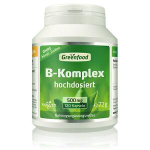 Greenfood B-Komplex 50, hochdosiert, 120 Kapseln, ohne künstliche Zusätze, vegan