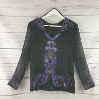 Sudi Creation Womens Vintage 100% Silk Black Sequin Embellished Top UK  Size 14
