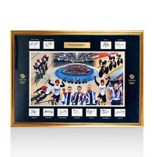 London 2012 British Track Cycling Team Framed with 11 Signed Cards Autograph