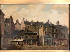 "B.W. Sanderson oil painting ""English Village"" - 19th Century European fine art"