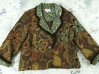 3 Sisters Jacket blazer Women brown Teal floral green animal print multi media L