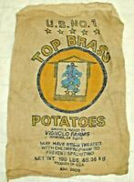VINTAGE U.S. NO.1 TOP BRASS POTATOES 100 POUND BURLAP SACK - ANCHOR GRAPHICS