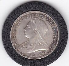 Sharp   1893    Queen  Victoria  Sterling  Silver  Shilling  British Coin
