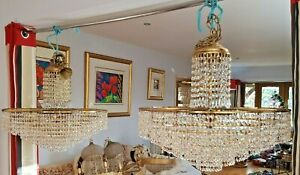 Vintage Gold Plated & Crystal Austrian Strauss Chandelier