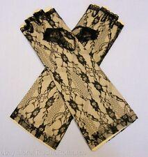 Leg Avenue Black Floral Elbow Length Lace Fingerless Gloves Evening Wear Prom