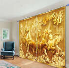 Gold Horses To Success 3D Blockout Photo Printing Curtains Draps Fabric Window