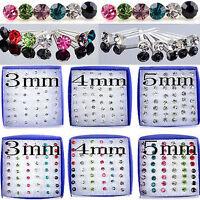 Lot 24 Paires Boucles D'oreilles Clou Strass Cristal Bijoux Multicolore Earring