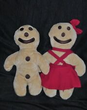 Lot 2 Peluche doudou biscuit beige mannele EURO SOUVENIRS GMBH robe rouge 29 cm