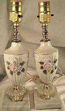 Pair of 1980s Era Embossed Floral Ceramic Boudoir Lamps