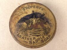 Antique Pre WWII Propert's Leather & Saddle Soap Tin Can With Original Bar Soap