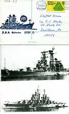 USS GALVESTON CRUISER CL 93 NAVAL CACHED CARD & 2 SMALL B&W MAGAZINE PICTURES