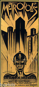 "Art painting Deco Metropolis Vintage Print Movie Poster  film framed canvas 32"""