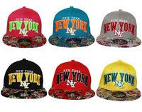 B M - YOUTH - KIDS NY New York SNAPBACK FLORAL Flat Peak Cap Hat Snap Back