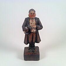 "Vintage Rare ANRI Wood Carving Mr. Pecksniff Figurine Dickens 3"""