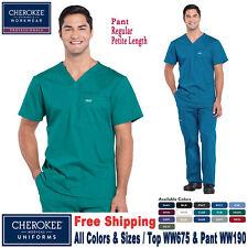 Cherokee Scrubs Conjunto Profissional Masculina Blusa E Calça WW675/WW190 Regular/Petite