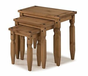 Corona Nest of Tables Piccolo Mexican Solid Pine Side End by Mercers Furniture®