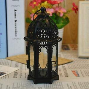 Retro Nostalgic Hanging Glass Iron Art Lantern Tea Candle Light Holder Hot