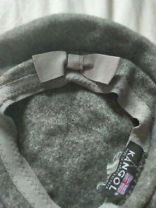 Kangol vintage 100% Virgin Wool Beret Hat Grey with bow