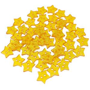 Gold 13mm Glitter Star Shape Resin Buttons Embellishments - Pack of 50