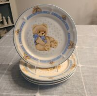 """Set of 4 Tienshan Theodore """"Country Bear"""" Stoneware Dinner Plates - 10 1/2"""""""