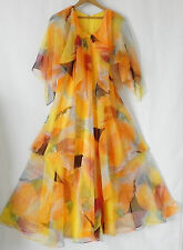Vtg Caped Sleeveless Dress Maxi  Tiered  Layered  Multi-Color  Chiffon  Size XS