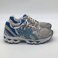 Women's Asics Gel Nimbus 12 Running Shoes Size 8 Silver Blue White T095N