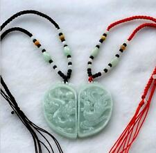 Chinese natural green jade hand carved dragon phoenix jadeite pendant necklace