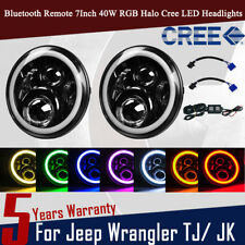 "OHMU 2pc Cree RGB Halo Ring 7"" 7 Inch Bluetooth APP LED Headlights Jeep Wrangler"