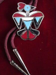 Bolo Tie (Large baked in enamel Thunderbird )(VINTAGE )