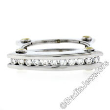 Men's 14K TT Gold 0.60ctw Channel Round Diamond Open Squared Layered Band Ring