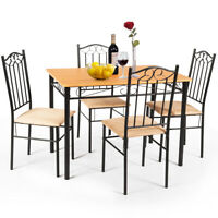 5 PC Dining Set Wood Metal Table and 4 Chairs Kitchen Breakfast Furniture New