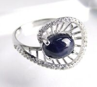 Sterling SILVER Cabochon Sapphire Ring size 8.25