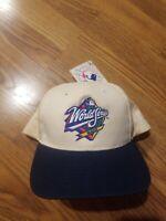 90's New Vintage 1999 MLB WORLD SERIES AL NL Snapback Sport Cap Hat Navy/Wht