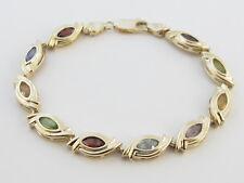 "14k Yellow Gold Multi color Gemstones Tennis Bracelet 7 1/2"" 8 mm Wide"