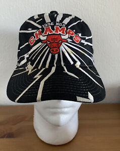 Vintage Starter Chicago Bulls 1996 NBA Champs Snapback Hat Black Wool Collision