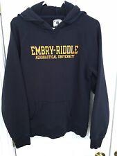 Champion Emery-Riddle Aeronautical University Hoodie Sweatshirt L/XL Navy Blue