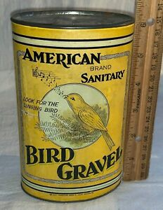ANTIQUE AMERICAN SANITARY BIRD GRAVEL TIN CANARY PET VET 1927 CAN N/ FOOD SEED