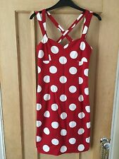 Ladies Vintage Moschino Jeans 90's Red White Polka Dot Cross Strap Dress Size 8