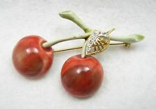 Vintage HAR Signed Enamel Cherry Cherrries Rhinestone Leaf Brooch Pin
